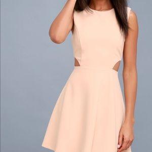 Lulu's Blush Cutout Skater Dress